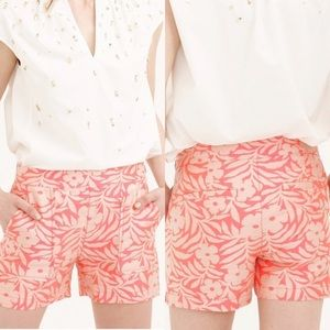 J. Crew Plumeria Jacquard Shorts in Neon Persimmon